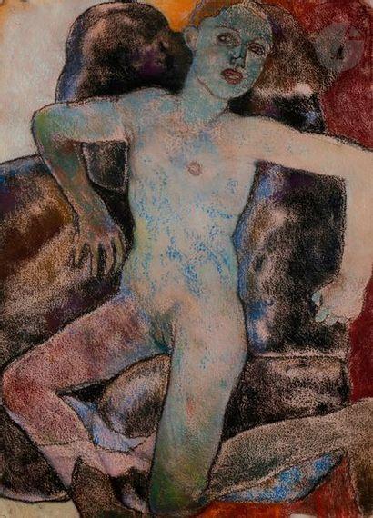 Michael BASTOW (né en 1943) Nu bleu Pastel...