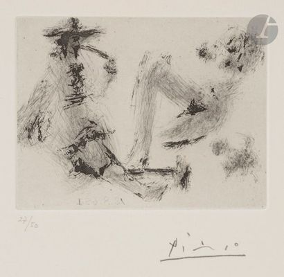 Pablo PICASSO (1881-1973) Homme à la pipe,...