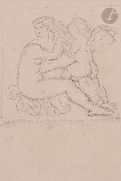 Aristide MAILLOL (1861-1944) Vénus et l'Amour Crayon noir. (Petites rousseurs)....