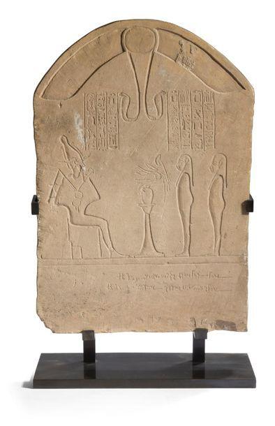 ÉGYPTE. Stèle cintrée bilingue (rare) gravée...