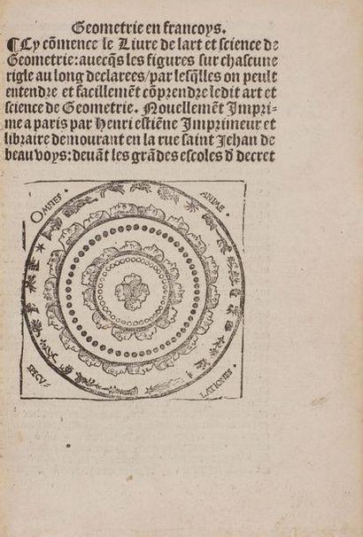 BOVELLES Charles de (1478-1567). Geometrie en francoys. Cy commence le Livre de...