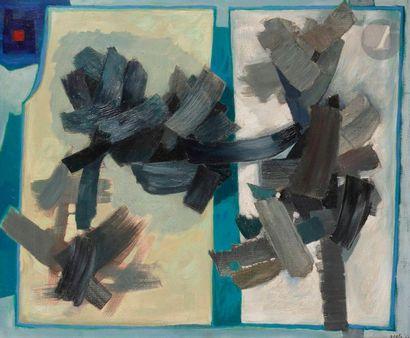 Henri GOETZ [franco-américain] (1909-1989) Composition, 1953 Huile sur toile. Signée...