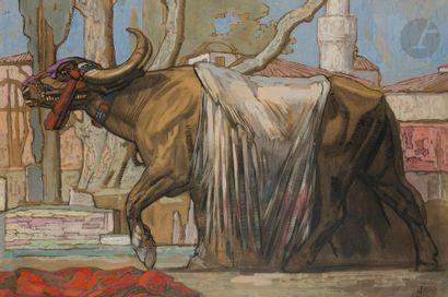 PAUL JOUVE (1878-1973) Buffle macédonien,...