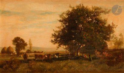 Eugène LAVIEILLE (Paris, 1820-1889)  Vaches...