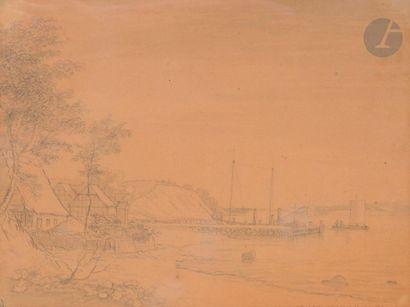 Fabritius de TENGNAGEL (1781-1849)  Paysage de bord de mer animé  Crayon noir et...