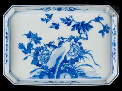 Chine  Plateau rectangulaire en porcelaine...