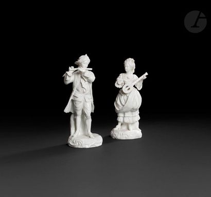 Samson  Paire de statuettes blanches en porcelaine...
