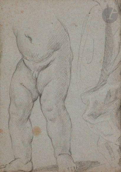 Charles PARROCEL (1688-1752) (Attribué à)  Feuille d'études  Pierre noire et craie...