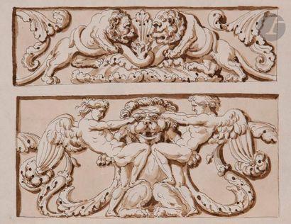 Attribué à Étienne de LA VALLÉE-POUSSIN (1735-1802)  Projet de bas-relief ou stucs...