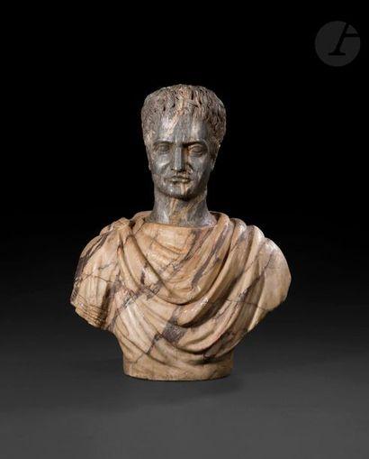 Buste en résine imitant le marbre figurant...
