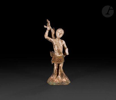 Saint Sébastien en bois sculpté en ronde-bosse...
