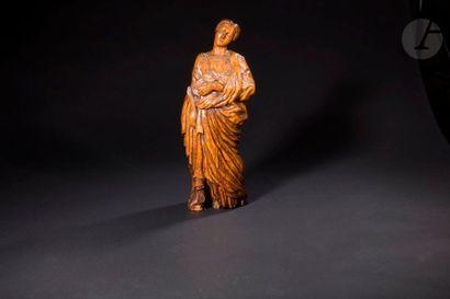 Sainte Martyre en bois sculpté en ronde-bosse...