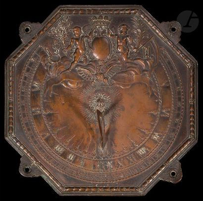 Cadran solaire en cuivre de forme octogonale...