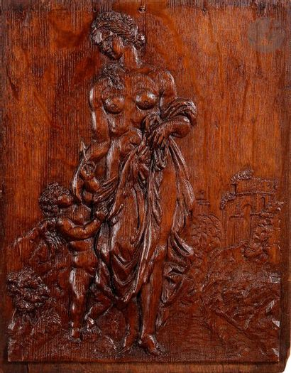 Panneau en chêne sculpté en bas-relief représentant...