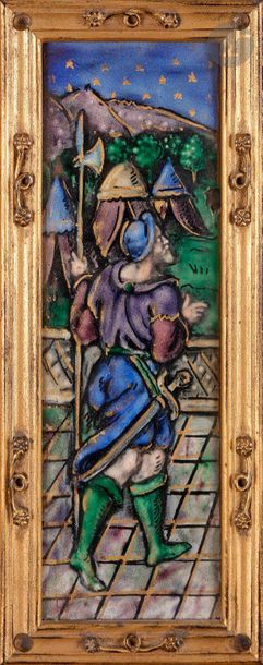 Triptyque en émail peint polychrome représentant...