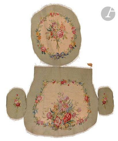 Garniture de fauteuil, Aubusson, bouquet...