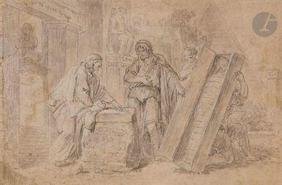 ÉCOLE FRANÇAISE du XVIIIe siècle  Le Marchand d'antiquités égyptiennes  Pierre noire,...