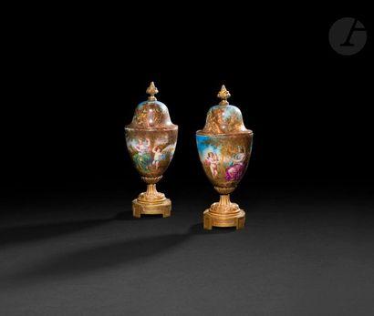 Paire de vases d'ornement en porcelaine peinte...