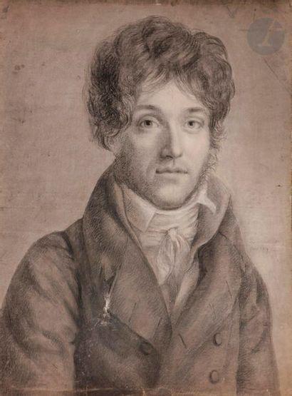 ÉCOLE FRANÇAISE du début du XIXe siècle  Portrait d'homme en buste  Crayon noir,...