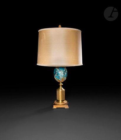 Maison Charles  Pied de lampe en bronze verni...