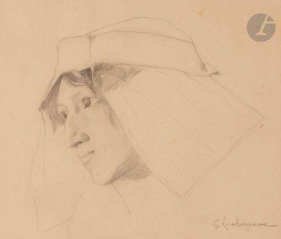 Georges-Antoine ROCHEGROSSE (1859-1938)  Étude de femme  Mine de plomb.  Signée...