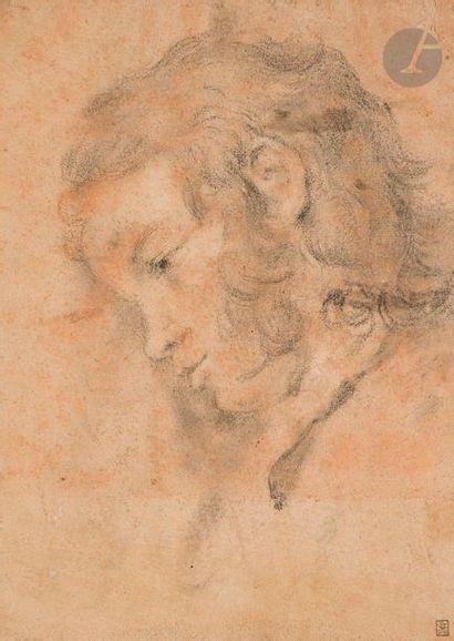 ÉCOLE FRANÇAISE vers 1800  ou du début du XIXe siècle  Profil de jeune homme  Pierre...