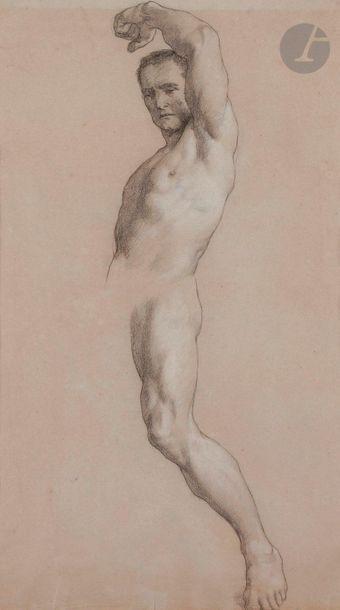 ÉCOLE FRANÇAISE du XIXe siècle  Académie d'Homme  Fusain et pierre blanche.  45...