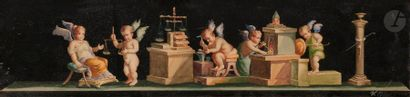 Attribué à Vicenzo BISOGNO (1866-?)  Trois frises avec des putti  Aquarelles gouachées....
