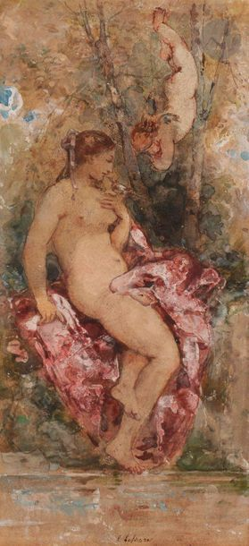 Emile LESSORE  (Paris 1805 - Bourron-Marlotte 1876)  Nymphe et putti dans un sous-bois...