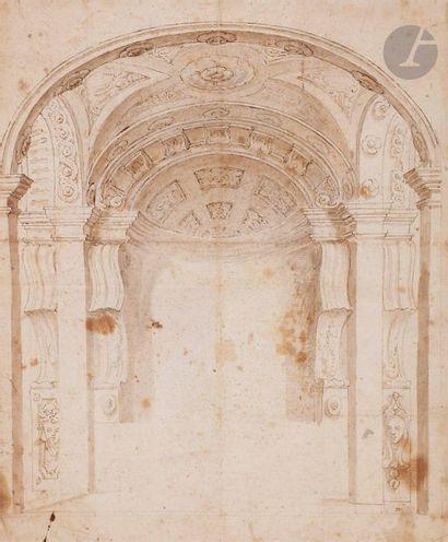 ÉCOLE ITALIENNE du XVIIe siècle  Projet d'architecture...