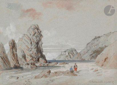 ÉCOLE FRANÇAISE du XIXe siècle  Les rochers...