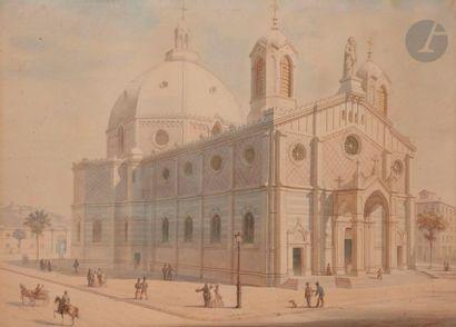 ÉCOLE FRANCAISE du XIXe siècle  Projet d'église...