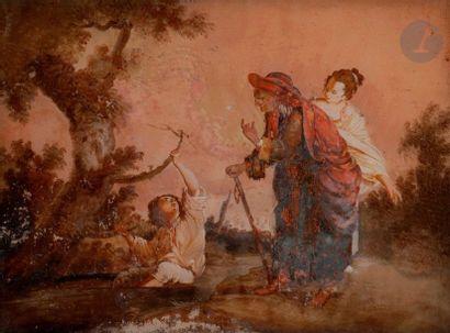 ÉCOLE FRANÇAISE du XVIIIe siècle  Scène libertine...