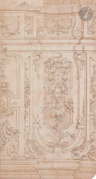 ÉCOLE ITALIENNE du XVIIIe siècle,  ENTOURAGE DE MAURO TESSI  Projet de décor de...