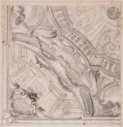 ÉCOLE BOLONAISE du XVIIIe siècle  Projet de décor architectural plafonnant  Plume...