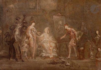 ÉCOLE FRANÇAISE du XIXe siècle  Dans l'atelier...