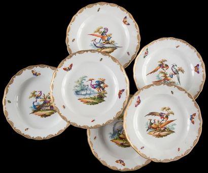 Meissen  Six assiettes plates et quatorze...