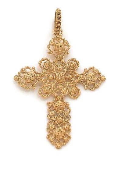 Croix-pendentif en or 18K (750) à décor de...