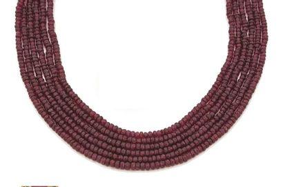 Collier de 6 rangs de perles de rubis polyédriques...