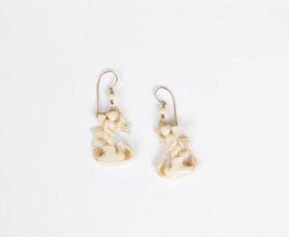 Paire de pendants d'oreilles en or 18K (750),...