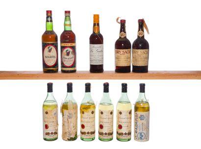 LOT DE 11 BOUTEILLES D'ALCOOLS DIVERS, N...