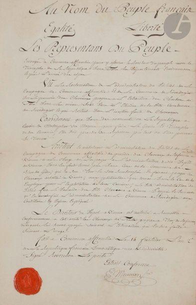 Arrêté autographe, manuscrit.