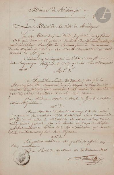 Arrêté manuscrit de la Mairie de Airedegier....