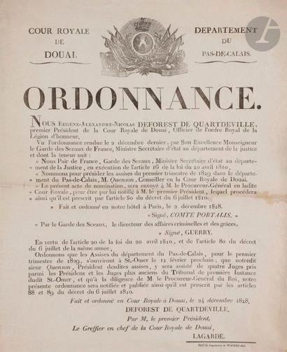 Ordonnance de la Cour royale de Douai nommant...