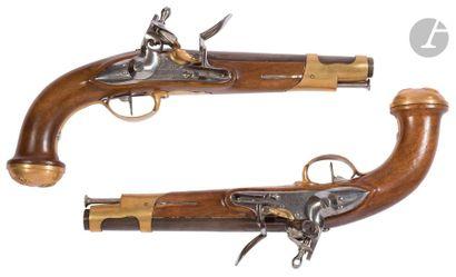 Paire de pistolets à silex de garde du corps...