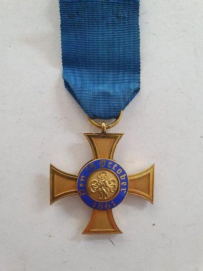 ALLEMAGNE - PRUSSE ORDRE DE LA COURONNE Croix de chevalier en bronze doré et émail....