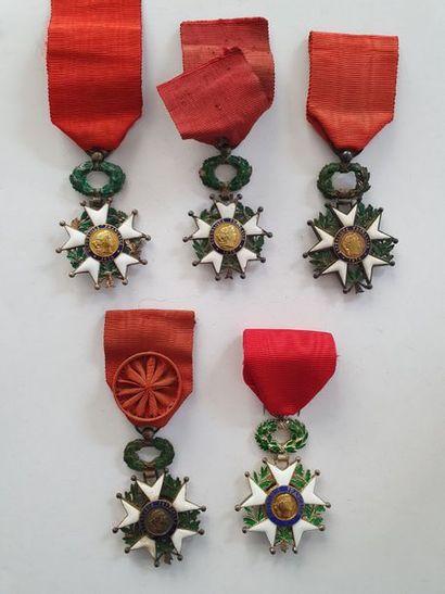 FRANCE Ensemble de 5 légions d'honneur:...