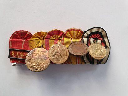 ALLEMAGNE – BADE Ensemble de 4 médailles et une barrette: - Commémorative 1870-1871....