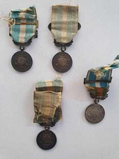 FRANCE MÉDAILLE COLONIALE Quatre médailles coloniales, fabrication de la Monnaie...