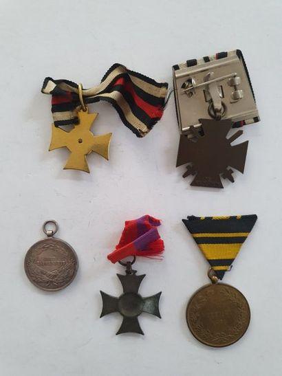 AUTRICHE - ALLEMAGNE 5 médailles dont croix des Balkans (1912-1913), médaille pour...